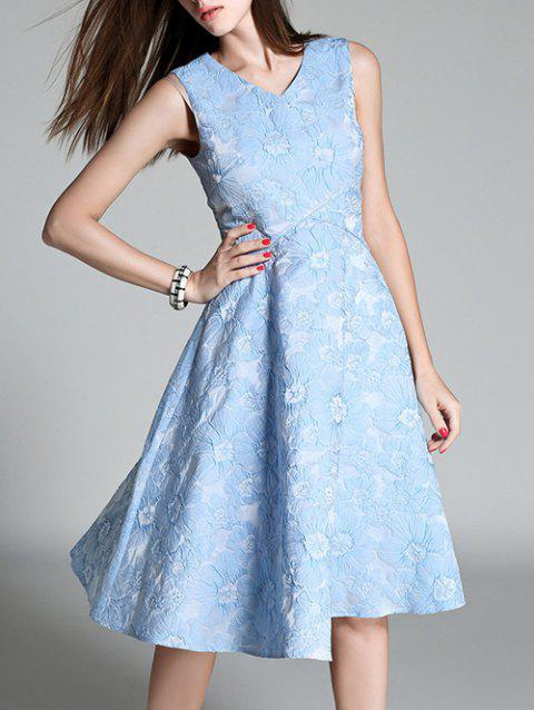 Floral Embroidered High Waist Flare Dress - LIGHT BLUE S