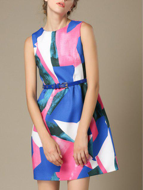 Manches taille haute Color Block Dress - multicolore XL