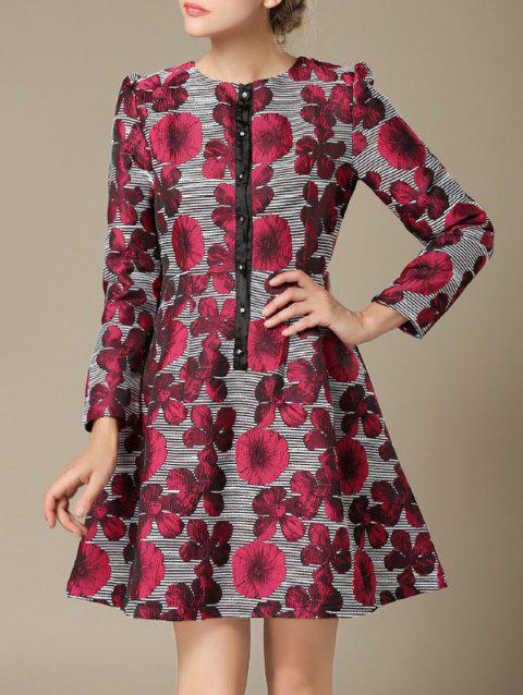 Flowers Embroidery Long Sleeves Flare Dress - DEEP RED L