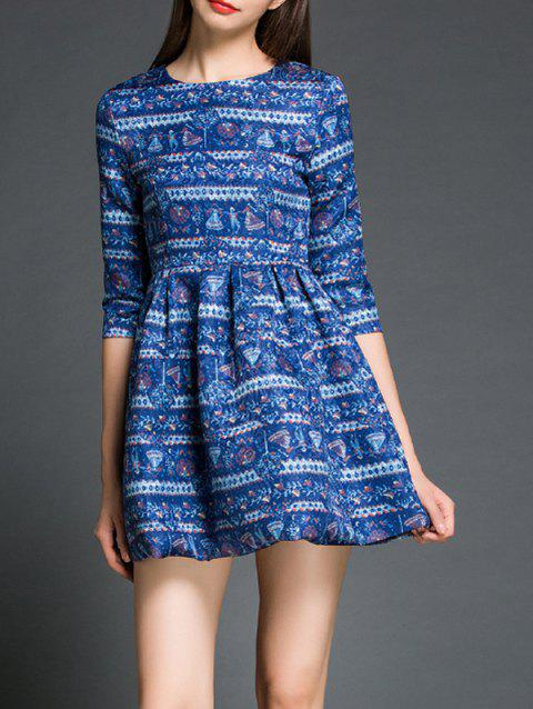 Tribal Print 3/4 Sleeves Flare Dress - BLUE XL