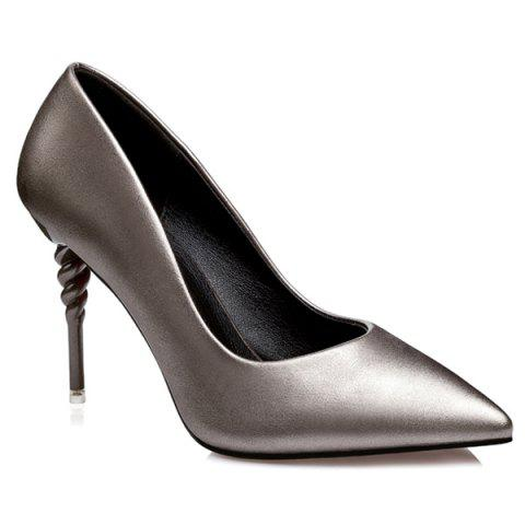 PU Leather Strange Heel Work Pumps - GUN METAL 38