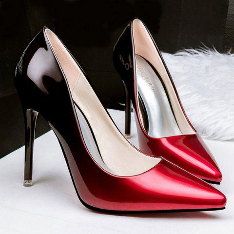 Gradient Color Stiletto Heel Pointed Toe Pumps - WINE RED 39