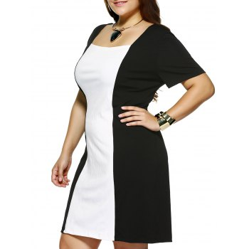 Plus Size Square Collar Color Block Dress