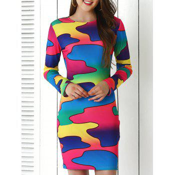 Brief Colorful Print Bodycon Dress