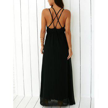 Criss Floor Length Open Back Long Party Slip Dress