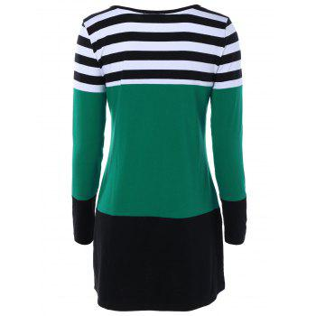 Long Sleeve Hit Color Striped Dress - GREEN 2XL