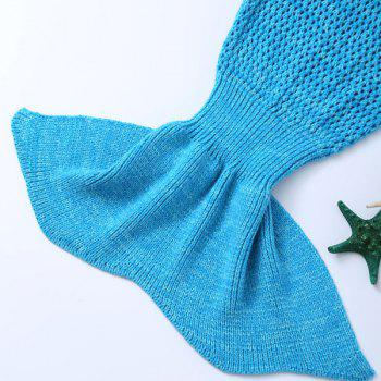 Crochet Bowknot Lace-Up Mermaid Blanket For Kids -  BLUE