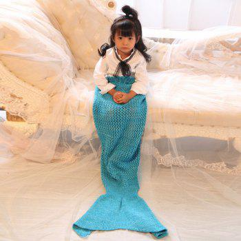 Crochet Bowknot Lace-Up Mermaid Blanket For Kids - BLUE BLUE