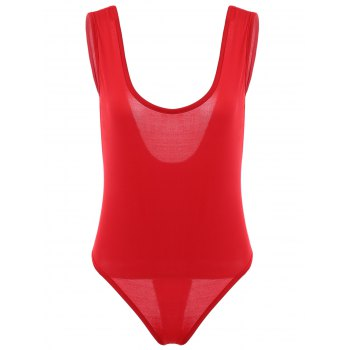 Women's Chic Plunging Neck Red One Piece Swimwear