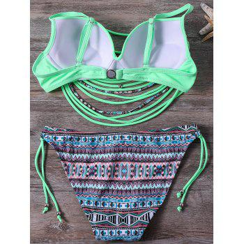 Stylish Spaghetti Strap Strappy Embellished Printed Underwire Women's Bikini Set - S S