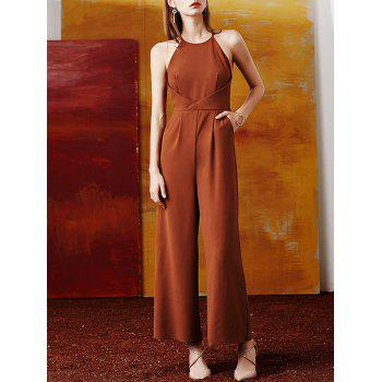Sleeveless Back Cut Out High Waist Culotte Jumpsuit