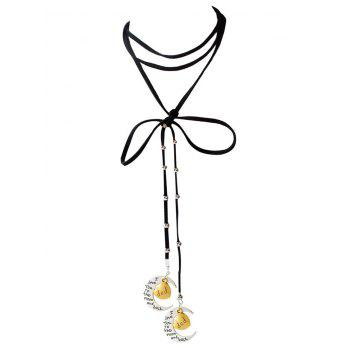 Faux Leather Bowknot Moon Dad Choker