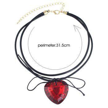 Faux Crystal Heart Bowknot Layered Choker - RED
