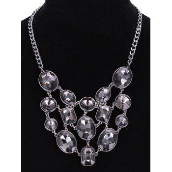Multilayered Adorn Faux Crystal Geometric Necklace - GRAY