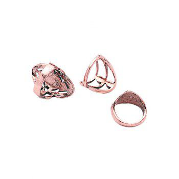Cut Out Etched Geometric Ring Set - ROSE GOLD