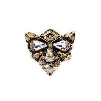 Etched Rhinestone Leopard Head Ring
