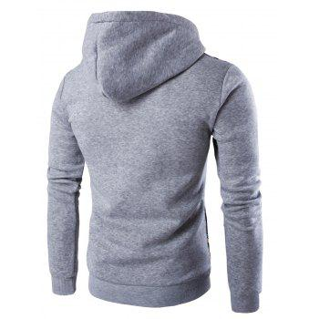 Hooded Long Sleeve Tribal Print Fleece Hoodie - LIGHT GRAY L