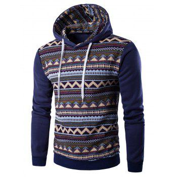 Hooded Long Sleeve Tribal Print Fleece Hoodie