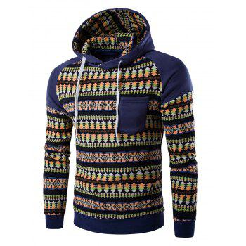 Hooded Pocket Raglan Sleeve Color Block Tribal Print Hoodie