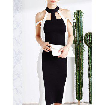 Cold Shoulder Cut Out Bodycon Bandage Midi Prom Dress