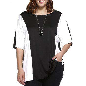 Plus Size Color Block Blouse - WHITE AND BLACK WHITE/BLACK