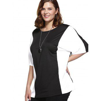 Plus Size Color Block Blouse - WHITE/BLACK WHITE/BLACK
