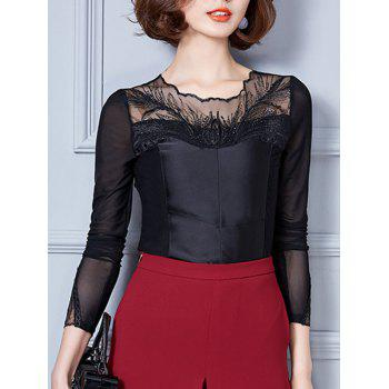 Mesh Spliced Embroidered Slimming Blouse
