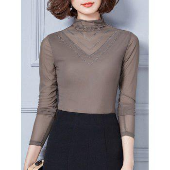 Retro Turtleneck Long Sleeve Mesh Spliced Beads Blouse