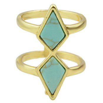 Faux Rammel Geometric Multilayered Ring - BLUE ONE-SIZE