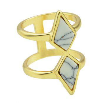 Faux Rammel Geometric Multilayered Ring - WHITE ONE-SIZE