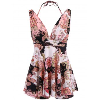 Vintage Women's V-Neck Floral Print Two Piece Swimsuit
