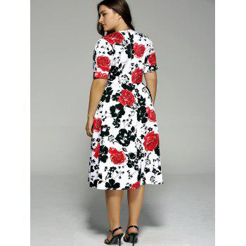 Plus Size High Waist Floral Surplice Dress - BLACK/WHITE/RED BLACK/WHITE/RED