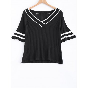 Stripe Flare Sleeve V-Neck Ribbed Knitted T-Shirt