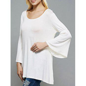 Scoop Neck Flare Sleeve Longline Swing T-Shirt