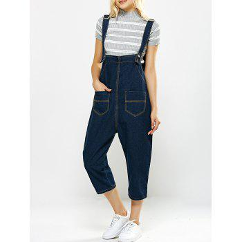 Loose-Fitting Pockets Design Drop Crotch Denim Capri Overalls