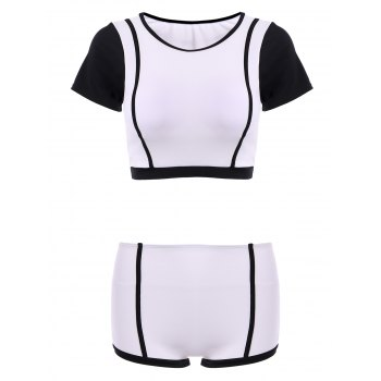 High Neck Color Block Short Sleeve Two Piece Swimwear For Women
