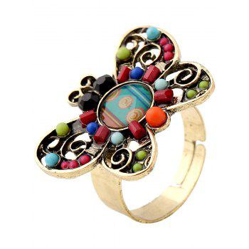 Hollowed Beaded Butterfly Ring