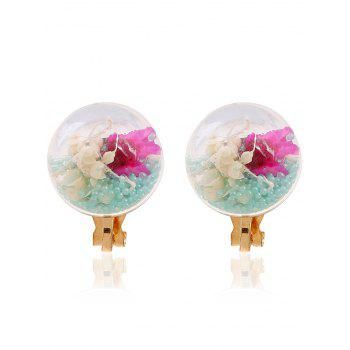 Pair of Glass Flower Beads Clip On Earrings