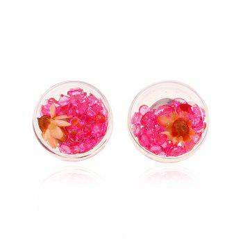 Pair of Glass Flower Rhinestone Stud Earrings
