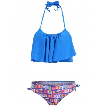 Women's Charming Ruffles  House Print Lace Up Swimsuit - BLUE M