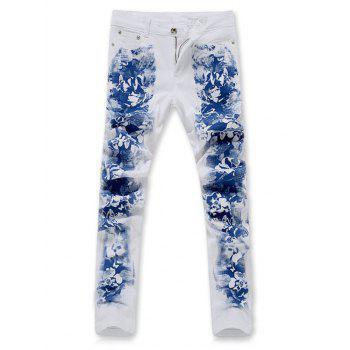 Floral Print Zipper Fly Slim-Fit Pants