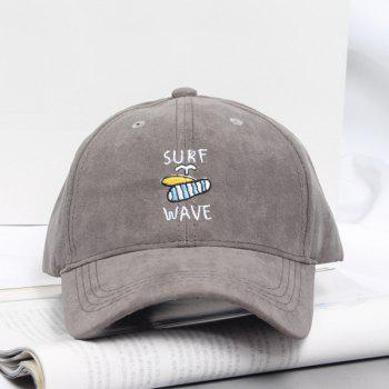 Summer Casual Letters and Surfboard Embroidery Faux Suede Baseball Hat