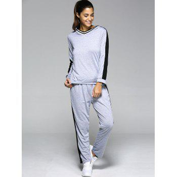 Hooded Contrast Color Spliced Sports Suit - LIGHT GRAY M