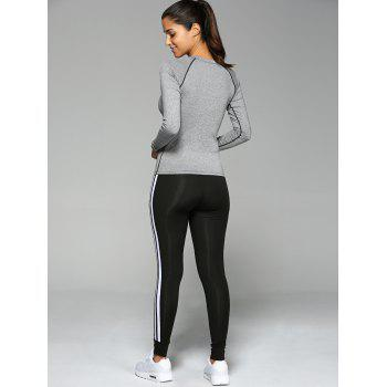 Stretchy Varsity-Striped Skinny Slimming Sports Suit - GRAY GRAY
