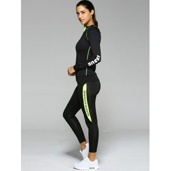 Contrast Color Zippered Letter Pattern Sports Suit - S S