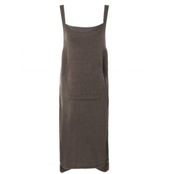 Simple Pure Color High Low Knitted Dress For Women
