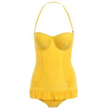 Halterneck Ruffled Solid Color One-Piece Swimsuit For Women - YELLOW L