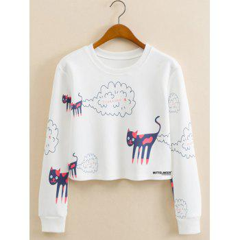 Kitten Animal Cropped Long Sleeve Sweatshirt