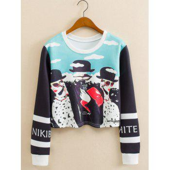 Glasses Girl Cropped Long Sleeve Sweatshirt