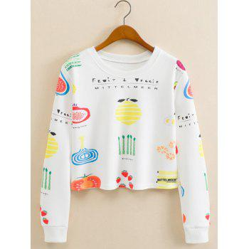 Fruits Figure Cropped Long Sleeve Sweatshirt